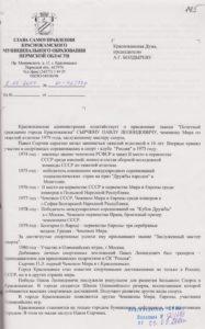 Ходатайство о присвоении звания «Почетный гражданин г. Краснокамска» Сырчину П.Л. 2004. Ф.119.Оп.1.Д.145.Л.145