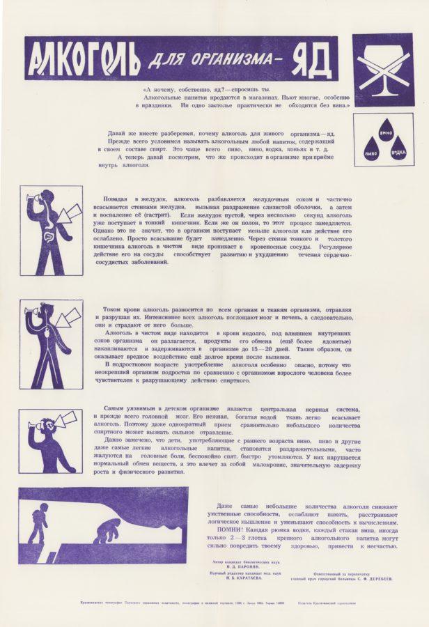 Плакат на антиалкогольную тему. 1986. Ф.89.Оп.1.Д.389.Л.2